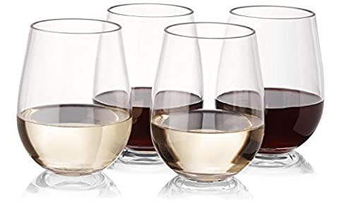Plastic Unbreakable Wine Glasses - Set of 16 Stemless Red