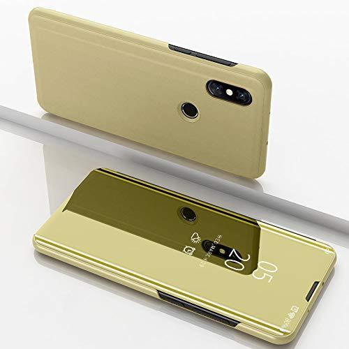 Custodia® Espejo Chapado Transparente View Stand Función Flip Funda para Xiaomi Mi Mix 3 (Oro)