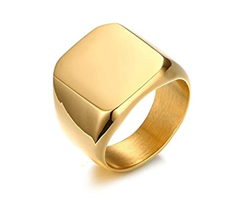 Vnox Men's Personalized Stainless Steel Signet Band Ring Gold,Free Engraving,UK Size R 1/2