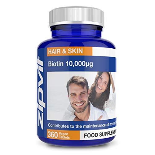 Biotina 10,000mcg | 360 piccole vegan compresse | Massima Efficacia Vitamina B7 per capelli, unghie e pelle sani | Fornitura 12 mesi