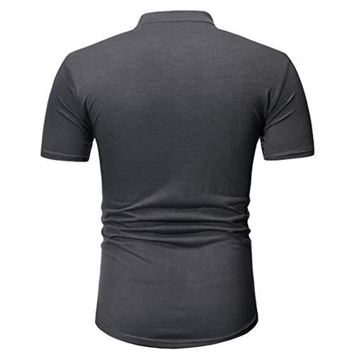 T-Shirt mit V-Ausschnitt und abgerundetem Herren Einfarbig Hemd Knopf Hemden Briskorry