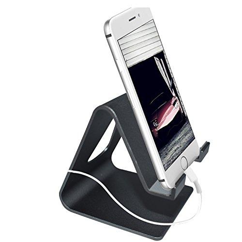 Universal-Halterung für Handys und Tablets, aus solider Aluminiumlegierung, für iPhone 8/8 Plus/7/7 Plus, iPhone X, Galaxy Note 8/S8/S8 Plus, HTC und alle Android-Smartphones Schwarz -