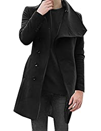 Sourcingmap Mens Stylish Convertible Collar Long Sleeve Single Breasted Slant Pockets Trench Coat