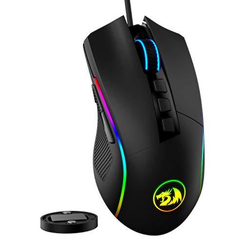 Redragon M721-Pro Lonewolf2 Gaming Maus, Kabelgebundene Maus mit RGB Beleuchtung, 10 Programmierbare Tasten, 32.000 DPI Einstellbar, Bequemer Griff, Optische Computer Gaming Mäuse mit