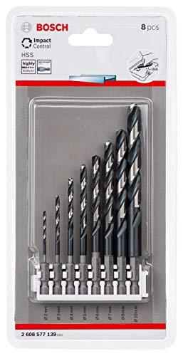 Bosch Professional 8tlg. Impact Control HSS Spiralbohrer Set (für Metall, Zubehör Schlagbohrmaschine)