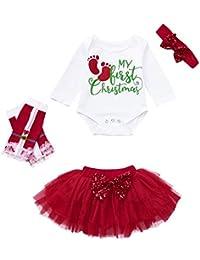 Stirnband Weihnachtskost/üm mama stadt 3 St/ück Baby M/ädchen Weihnachten Kleidung Party Langarm Weihnachts Outfits Baumwolle Strampler T/üllrock
