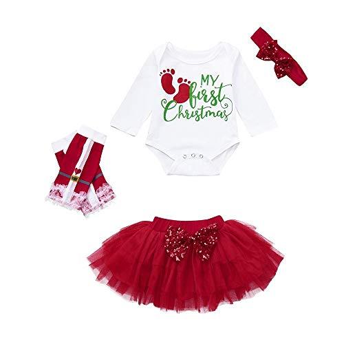 FIRSS-Mädchen Weihnachten Drucken Strampler + Bogenrock + Beinwärmer + Stirnbänder My First Christmas 4pcs Festlicher ()
