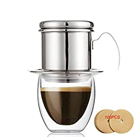 ECHI Coffee Percolator, Stainless Steel Vietnamese coffee Drip filters, Single Cup Coffee Drip Pot Brewer – Portable, Paperless for Home Kitchen Office Outdoor Use