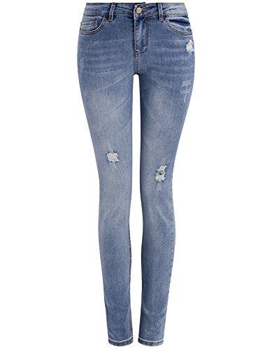 oodji Ultra Femme Jean Skinny avec Détails d'Usure à la Mode Bleu (7000W)