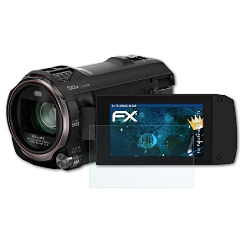 atFoliX Panzerfolie für Panasonic HC-V777 Folie - 3 x FX-Shock-Clear stoßabsorbierende ultraklare Displayschutzfolie