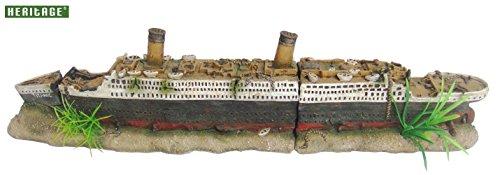 Heritage Acuario Tanque de peces Barco Titanic Wreck Figura pintada a mano