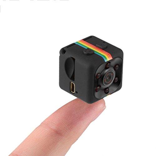 Oudan 1080P Mini-Kamera Spion SQ11 Spy versteckte Webkamera tragbar Sport DV Kamera mit Infrarot-Nachtsicht und Bewegungsmelder für Überwachungskamera, Schwarz, S