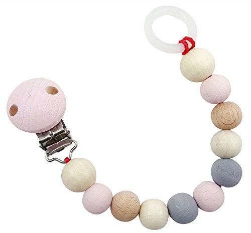 Hess 13718 - Holzspielzeug, Schnullerkette aus Holz, nature rosa