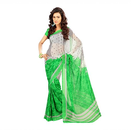 Shaktideal Dailywear light weight printed sarees white and pink