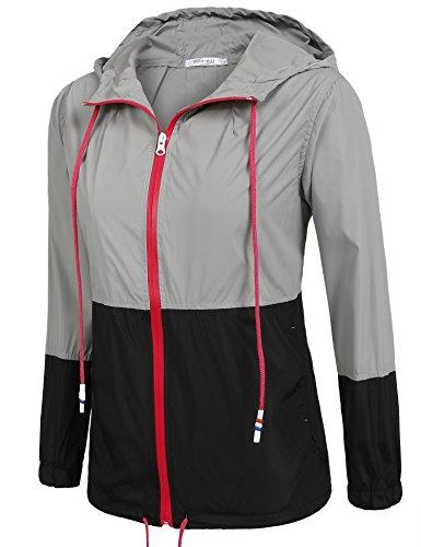 Damen Jacke Windbreaker Übergangsjacke Wasserabweisend Regenmantel Regenjacke mit Kapuze , Farbe - Schwarz , Gr. S - 2