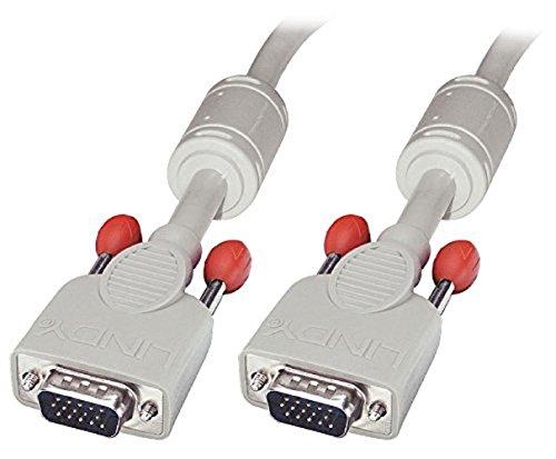 LINDY 36340 - VGA Monitorkabel DDC 15 polig HD Stecker/Stecker - Grau, 0,25 m