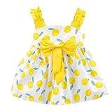LEXUPE Kleinkind Kind Baby Mädchen Früchte gedruckt Bogen Party Prinzessin Kleid Kleidung(Gelb,80/7)