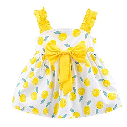 Livoral Früchte Druck Bogen Mädchen Prinzessin Kleid Kinder Kinder Babykleidung(Gelb,90)