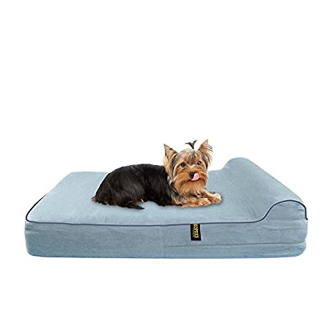 KOPEKS Small to Medium Dog Bed for Toy Small to Medium Size Dogs Cats and Pets with Orthopaedic Memory Foam 63 x 50 x 10cm Plus the Pillow - S - M -