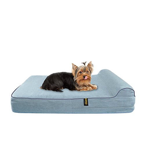 KOPEKS-Medium-Dog-Bed-for-Toy-Small-to-Medium-Size-Dogs-Cats-and-Pets-with-Orthopaedic-Memory-Foam-63-x-50-x-10-cm-Plus-the-Pillow-S-M-Grey