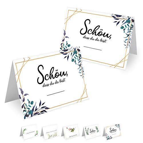 MAVANTO® 50x Design Tischkarten Hochzeit Geburtstag DIN A7 - Platzkarten zum Beschriften in vielen verschiedenen Designs (Blätter)