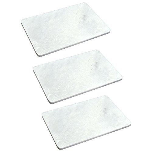 Argon Tableware Plateaux en marbre - rectangulaire - pour Servir des Repas - 300 x 200 mm - Blanc - Lot de 3