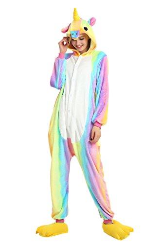 Minetom Kinder Einhorn Karikatur Tier Pyjama Halloween Karneval Fasching Kostüm Unisex Erwachsene Schlafanzug Jumpsuit Cosplay Regenbogen Gelb S(148-158CM) (Neugeborenen Star Wars Kostüme)