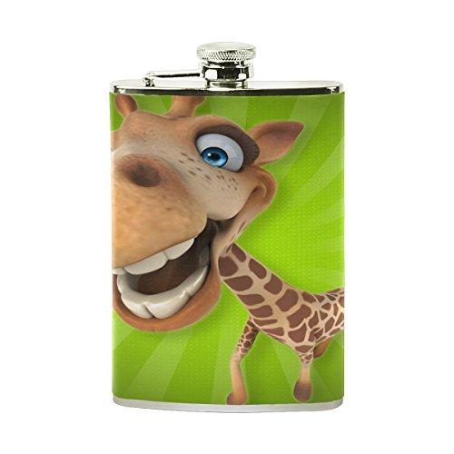 Tizorax Fun Girafe Dessin animé en acier inoxydable Flasque, poche Pichet, le camping, Pot de vin, cadeau pour homme ou femme, 226,8gram