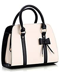 Qianle Women's Faux Leather Hobo Messenger Bow Knot Tote Shoulder Bag Handbag