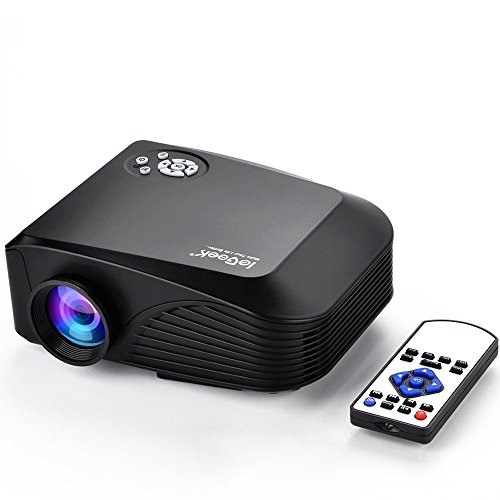 ieGeek Tragbar LED Multimedia Heimkino Mini Projektor LCD Beamer 1200 Lumen 800 * 480 Auflösung unterstützt Max 1080p AV/VGA/USB/SD/HDMI Vedio Gaming Movie für Zuhause Party unterwegs (Schwarz)