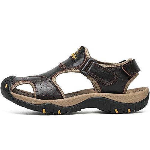 ed9cc2af4 Men Sandals Brand Summer Genuine Leather Sandals Men Outdoor Beach Slippers  Walking Sport Male Rubber Sole