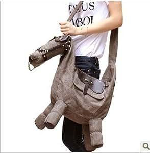 sac original Bandouliere Creatif Mignon Coreen Cheval Gris Animal Croix