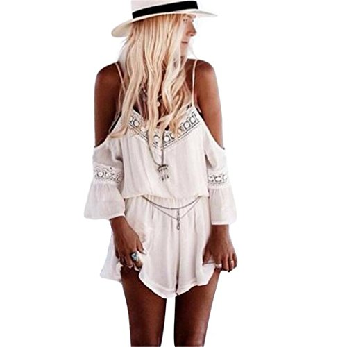 Sannysis Women Straps Halter Crochet Playsuits Summer Beach Jumpsuits Romper (M) (Crochet Halter)