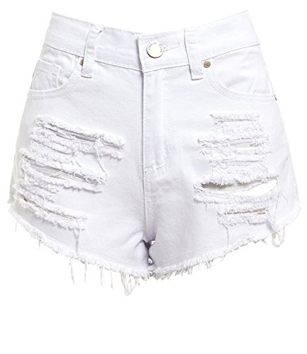 SS7 New Women's High Waisted Ripped Shorts, White, Sizes 6 to 16