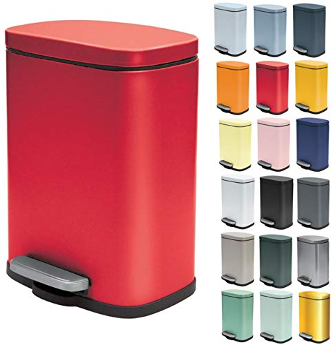 Spirella Kosmetikeimer 5 Liter Edelstahl mit Absenkautomatik und Inneneimer Akira Badezimmer Mülleimer Softclose Abfalleimer Rot