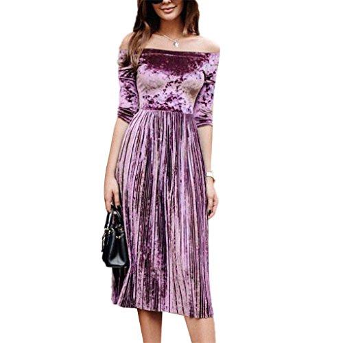 Kleid mit langen Ärmeln JYJM Womens Off Schulter Samt Kleid Damen Abend Party Loose Dress Ein Wort Schulter Samtkleid (M, Lila) (Worte Kostüm)