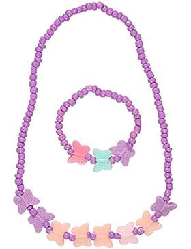 Bettwäsche Schmuck Kinder Kunststoff Mehrfarbig–Halskette und Armband–Schmetterlinge–Violett