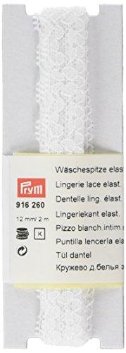Prym–diseño de Flores elástico lencería Encaje Mezcla de, poliéster, Blanco, 12mm, 2m