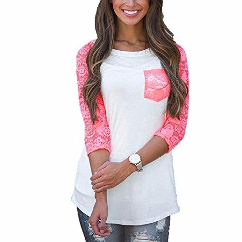 Damen Shirt, funic Frauen Drei Viertel Sleeve Lace Patchwork Casual Lose Tops Bluse T Shirt, Polyester, weiß, M - Kabel Sleeve Cardigan
