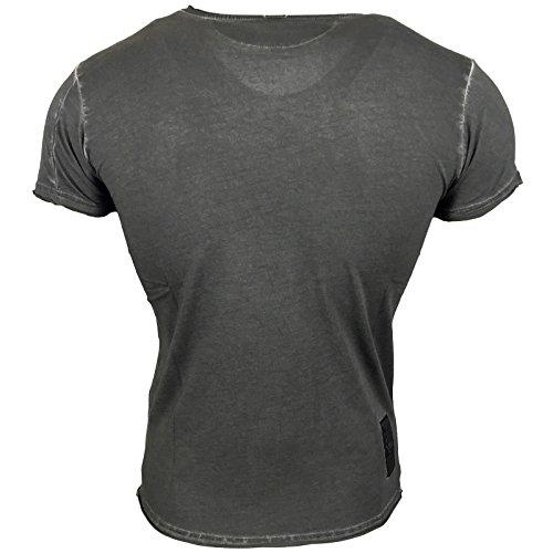 Herren T-Shirt Rundhals Kurzarm Muster Grau Blau Anthrazit Muster A1-RN6781-Y Anthrazit