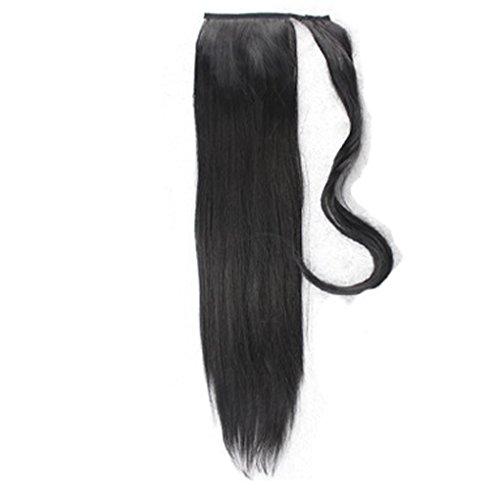 r-Endstück-Haarteil-Pferdeschwanz-synthetische Haarsträhne Wenden Sie langen geraden gefälschten Pferdeschwanz an ()