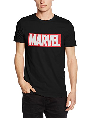 Marvel Herren Comics-Core Logo-Mens T-Shirt, schwarz, XX-Large -