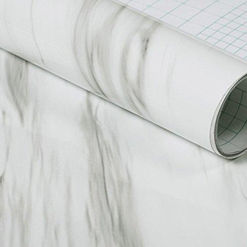 Hauptdekoration-Wand-Aufkleber, Granit-Marmoreffekt-Kontakt-Tapete selbstklebendes Peel Stick-Rollenpapier 24 X 19.7inch (Jazz weiß)