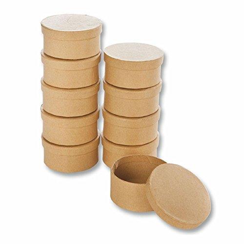 Creleo 790257 Papp-Boxen Rund Bastelboxen mit Deckel, 10 Stück, 8 x 4 cm