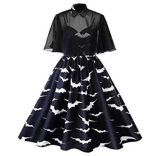Klassische Für Kostüm Erwachsene 1950er - Averyshowya Kostüm für Erwachsene Halloween Kostüm Für Sexemara Vintage 2 Stück Set Cape + Bat Print Tank Kleid der 1950er Jahre Rockabilly Kleid Ballkleid Plus Size @ XL