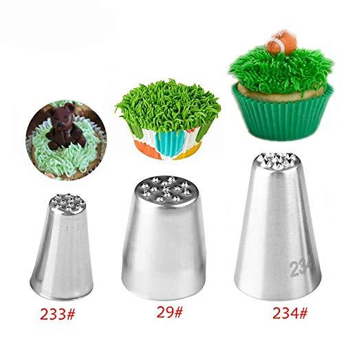 GOOTRADES Spritztülle aus Edelstahl, Gras, für Kuchen, Cupcakes, Kekse, Dessertdekoration, Gebäckherstellung, 3 Stück (3pcs nozzles-Grass)