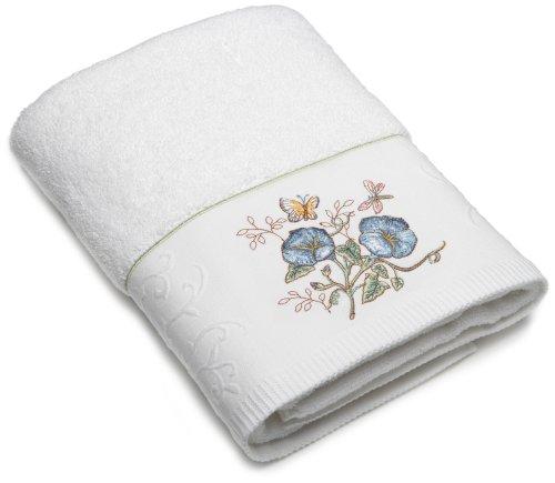 Lenox Handtuch mit Schmetterlingsmotiv, Bestickt, Blumenmuster, Blau Bath Towel Blaue Blume Lenox Set Ring