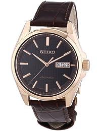 Seiko Herren-Armbanduhr XL Presage Analog Automatik Leder SRP470J1