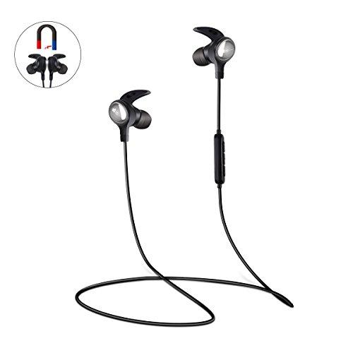 Bluetooth Kopfhöhrer, EC Technology Wireless In Ear Headset Headphones Sport Earphone für Gym Running Training, 6 Stunden Spielzeit Rauschunterdrückung - Schwarz