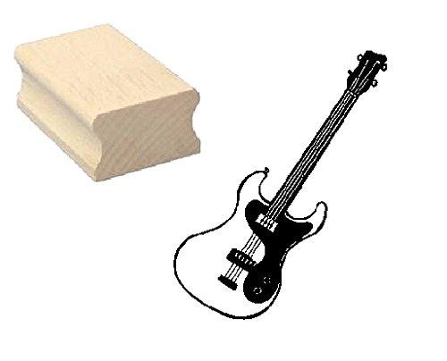 Stempel Holzstempel Motivstempel « E-BASS GITARRE » Scrapbooking - Embossing Musiker Gitarrenmusik Rock (Lackierte Gitarre)